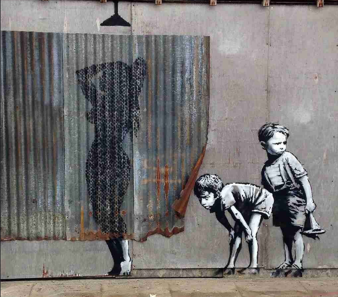 banksy - boys peeking woman naked